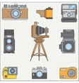 Line flat color icon set with retro analog vector image