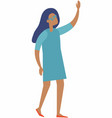 achievement concept with happy woman in blue dress vector image