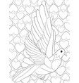 adult coloring bookpage a cute dove on the vector image vector image