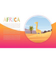 africa with cartoon flat african animal giraffe vector image vector image