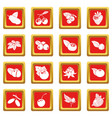 berries icons set red square vector image vector image