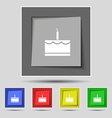Birthday cake icon sign on original five colored vector image vector image