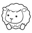 black and white sheep character sits forward vector image
