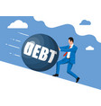 businessman pushing away big debt weight vector image vector image