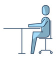 businessman sitting in chair desk office work vector image