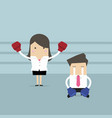 businesswoman standing in boxing ring as winner vector image