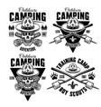 camping set four monochrome emblems vector image vector image