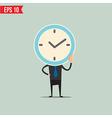 Cartoon Business man with clock face - - EP vector image