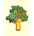 Cartoon multi-colored tree in a circle vector image