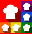 chef cap sign set of icons with flat vector image vector image
