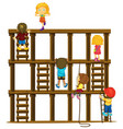 children climbing up the wooden ladders vector image vector image