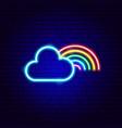 cloud rainbow neon sign vector image