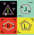 colorful capital letters i j k and l line emblems vector image