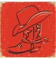Cowboy boot and western hat sketch foe design vector | Price: 1 Credit (USD $1)