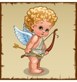 Cute boy Cupid with bow on a parchment background vector image vector image