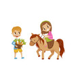 cute litlle girl riding a horse boy standing next vector image vector image