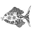 fish with floral elements vector image vector image