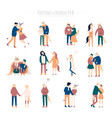 flat cartoon happy romantic couples walking vector image vector image