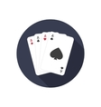 Four aces icon with shadow vector image
