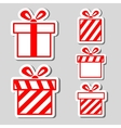 Gift boxes stickers set vector image