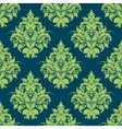 Green and blue damask style seamless pattern vector image