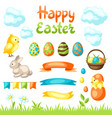 happy easter set holiday items vector image