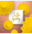 hello spring gold greeting card of paper flowers vector image vector image