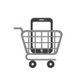 icon concept of smartphone inside shopping cart vector image vector image