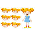 Little girl with facial expressions vector image vector image