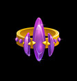 magic ring with purple gemstones gold jewel vector image