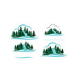 mountain waterfall template set vector image vector image