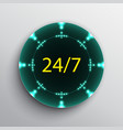 open 24 7 hours blue neon label vector image