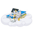 owl playing laptop with graduation cap vector image