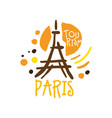 paris tourism logo template hand drawn vector image