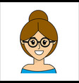 People happy face woman with glasses icon