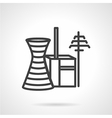Power industry buildings simple line icon vector image vector image
