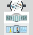 revolving door banner concept set flat style vector image