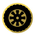 road tire sign flat black icon with flat vector image