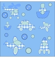 Seamless pattern with plane helicopter missile a vector image
