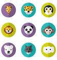 set of cute animals icons with flat design