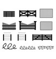 set of rural fences in silhouette style vector image
