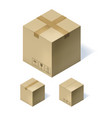 set of three isometric cardboard boxes isolated on vector image
