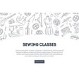 Sewing classes landing page with hand drawn sewing