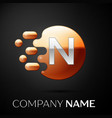 silver letter n logo gold dots splash and bubble vector image vector image
