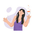 smiling woman holding glass wine and relaxing vector image vector image