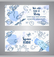 space slogan cosmic cards hand drawn vector image