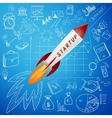 Startup concept rocket and business doodle icon vector image