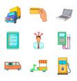 street trade icons set cartoon style vector image vector image