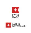 swiss made label sticker with swiss national flag vector image