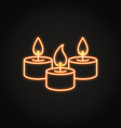 tealight candles icon in neon line style vector image